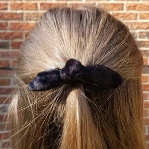 Black Velvet Bow Ponytail Holder